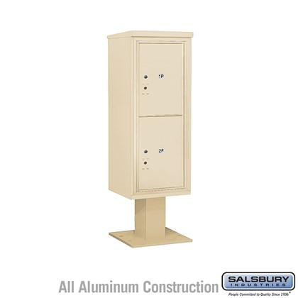 Pedestal Mounted 4C Horizontal Mailbox Unit (Includes 3712S-2P Parcel Locker, 13 Inch High Pedestal and Master Commercial Locks) - 12 Door High Unit (59-3/4 Inches) - Single Column - Stand-Alone Parcel Locker - 2 PL6's - Sandstone