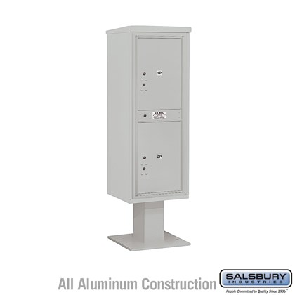 Custom Pedestal Mounted 4C Horizontal Mailbox Unit (Includes 3713S-2P Parcel Locker, 13 Inch High Pedestal and Master Commercial Locks) - 13 Door High Unit (63-1/4 Inches) - Single Column - Stand-Alone Parcel Locker - 2 PL6's