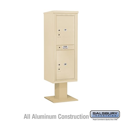 Pedestal Mounted 4C Horizontal Mailbox Unit (Includes 3713S-2P Parcel Locker, 13 Inch High Pedestal and Master Commercial Locks) - 13 Door High Unit (63-1/4 Inches) - Single Column - Stand-Alone Parcel Locker - 2 PL6's