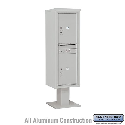 Custom Pedestal Mounted 4C Horizontal Mailbox Unit (Includes 3714S-2P Parcel Locker, 13 Inch High Pedestal and Master Commercial Locks) - 14 Door High Unit (66-3/4 Inches) - Single Column - Stand-Alone Parcel Locker - 2 PL6's