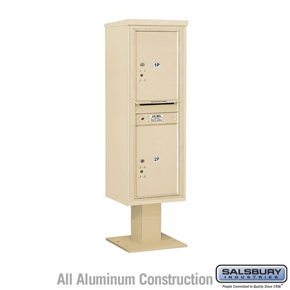 Pedestal Mounted 4C Horizontal Mailbox Unit (Includes 3714S-2P Parcel Locker, 13 Inch High Pedestal and Master Commercial Locks) - 14 Door High Unit (66-3/4 Inches) - Single Column - Stand-Alone Parcel Locker - 2 PL6's