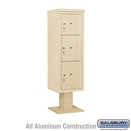 Pedestal Mounted 4C Horizontal Mailbox Unit (Includes 3714S-3P Parcel Locker, 13 Inch High Pedestal and Master Commercial Locks) - 14 Door High Unit (66 3/4 Inches) - Single Column - Stand-Alone Parcel Locker - 1 PL4 and 2 PL5's