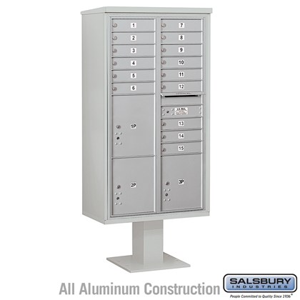 Pedestal Mounted 4C Horizontal Mailbox Unit (Includes 3716D-15 Mailbox, 13 Inch High Unit Pedestal and Master Commercial Locks) - Maximum Height Unit (72 Inches) - Double Column - 15 MB1 Doors / 2 PL4.5's and 1 PL5
