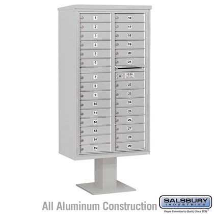 Pedestal Mounted 4C Horizontal Mailbox Unit (Includes 3716D-29 Mailbox, 13 Inch High Unit Pedestal and Master Commercial Locks) - Maximum Height Unit (72 Inches) - Double Column - 29 MB1 Doors