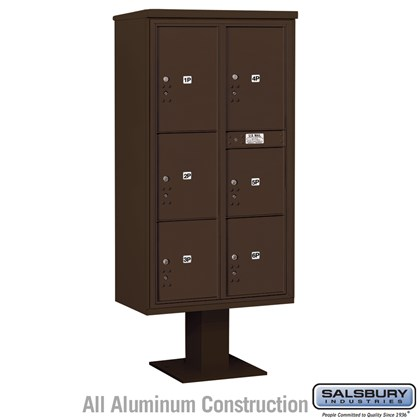 Pedestal Mounted 4C Horizontal Mailbox Unit (Includes 3716D-6P Parcel Locker, 13 Inch High Pedestal and Master Commercial Locks) - Maximum High (72 Inches) - Double Column - Stand-Alone Parcel Locker - 1 PL4, 2 PL4.5's, 1 PL5 and 2 PL6's - Bronze