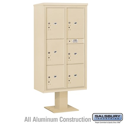 Pedestal Mounted 4C Horizontal Mailbox Unit (Includes 3716D-6P Parcel Locker, 13 Inch High Pedestal and Master Commercial Locks) - Maximum High (72 Inches) - Double Column - Stand-Alone Parcel Locker - 1 PL4, 2 PL4.5's, 1 PL5 and 2 PL6's - Sandstone