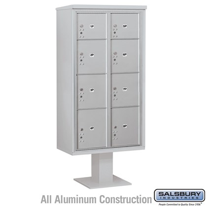 Pedestal Mounted 4C Horizontal Mailbox Unit (Includes 3716D-8P Parcel Locker, 13 Inch High Unit Pedestal and Master Commercial Locks) - Maximum Height Unit (72 Inches) - Double Column - 2 PL3's, 4 PL4's and 2 PL4.5's