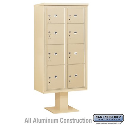 Pedestal Mounted 4C Horizontal Mailbox Unit (Includes 3716D-8P Parcel Locker, 13 Inch High Pedestal and Master Commercial Locks) - Maximum High (72 Inches) - Double Column - Stand-Alone Parcel Locker - 4 PL3's, 1 PL4, 2 PL4.5's and 1 PL5