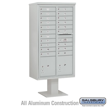 Pedestal Mounted 4C Horizontal Mailbox Unit (Includes 3716D-20 Mailbox, 13 Inch High Pedestal and Master Commercial Locks) - Maximum Height (72 Inches) - Double Column - 20 MB1 Doors / 2 PL4.5's