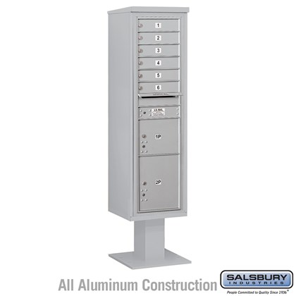 Pedestal Mounted 4C Horizontal Mailbox Unit (Includes 3716S-06 Mailbox, 13 Inch High Unit Pedestal and Master Commercial Locks) - Maximum Height Unit (72 Inches) - Single Column - 6 MB1 Doors / 1 PL3 and 1 PL4.5