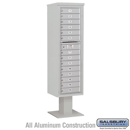 Pedestal Mounted 4C Horizontal Mailbox Unit (Includes 3716S-14 Mailbox, 13 Inch High Unit Pedestal and Master Commercial Locks) - Maximum Height Unit (72 Inches) - Single Column - 14 MB1 Doors