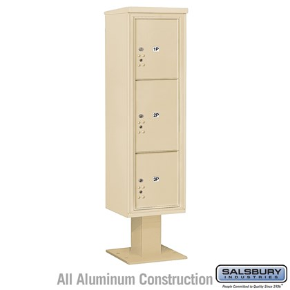 Pedestal Mounted 4C Horizontal Mailbox Unit (Includes 3716S-3P Parcel Locker, 13 Inch High Pedestal and Master Commercial Locks) - Maximum High (72 Inches) - Single Column - Stand-Alone Parcel Locker - 1 PL4.5, 1PL5 and 1 PL6