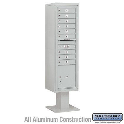 Pedestal Mounted 4C Horizontal Mailbox Unit (Includes 3716S-09 Mailbox, 13 Inch High Pedestal and Master Commercial Locks) - Maximum Height (72 Inches) - Single Column - 9 MB1 Doors / 1 PL4.5