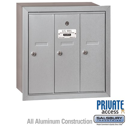 Vertical Mailbox (Includes Master Commercial Lock) - 3 Doors - Recessed Mounted - Private Access