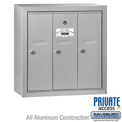 Vertical Mailbox (Includes Master Commercial Lock) - 3 Doors - Surface Mounted - Private Access