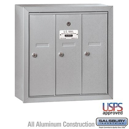Vertical Mailbox - 3 Doors - Surface Mounted - USPS Access