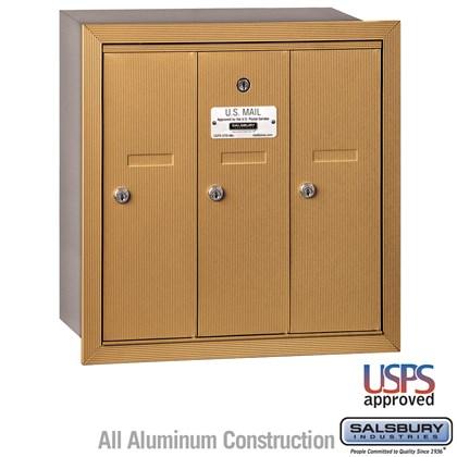 Vertical Mailbox - 3 Doors - Brass - Recessed Mounted - USPS Access