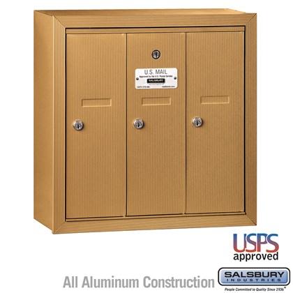Vertical Mailbox - 3 Doors - Brass - Surface Mounted - USPS Access