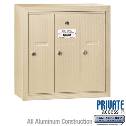 Vertical Mailbox (Includes Master Commercial Lock) - 3 Doors - Sandstone - Surface Mounted - Private Access