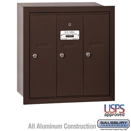 Vertical Mailbox - 3 Doors - Bronze - Recessed Mounted - USPS Access