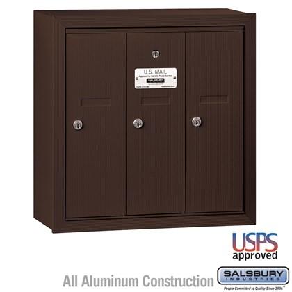 Vertical Mailbox - 3 Doors - Bronze - Surface Mounted - USPS Access