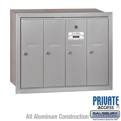 Vertical Mailbox (Includes Master Commercial Lock) - 4 Doors - Recessed Mounted - Private Access