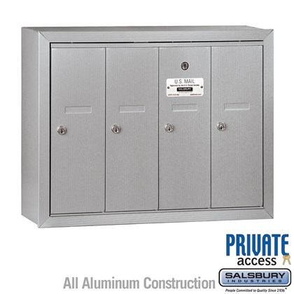 Vertical Mailbox (Includes Master Commercial Lock) - 4 Doors - Surface Mounted - Private Access