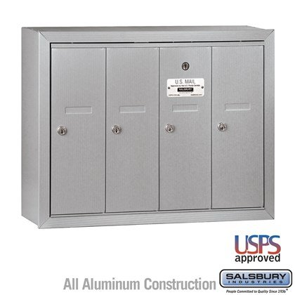 Vertical Mailbox - 4 Doors - Surface Mounted - USPS Access