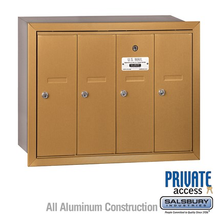 Vertical Mailbox (Includes Master Commercial Lock) - 4 Doors - Brass - Recessed Mounted - Private Access