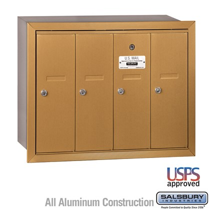 Vertical Mailbox - 4 Doors - Brass - Recessed Mounted - USPS Access