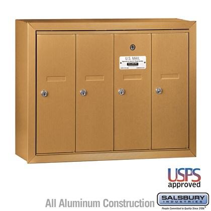 Vertical Mailbox - 4 Doors - Brass - Surface Mounted - USPS Access