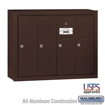Vertical Mailbox - 4 Doors - Bronze - Surface Mounted - USPS Access