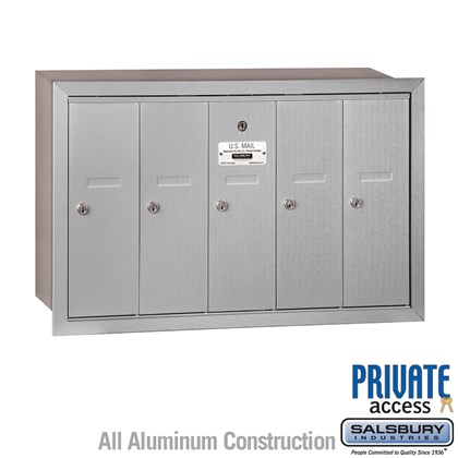 Vertical Mailbox (Includes Master Commercial Lock) - 5 Doors - Recessed Mounted - Private Access