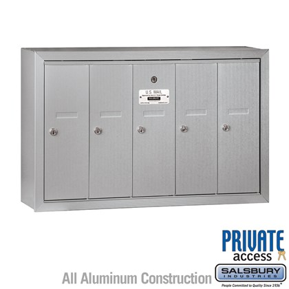 Vertical Mailbox (Includes Master Commercial Lock) - 5 Doors - Surface Mounted - Private Access