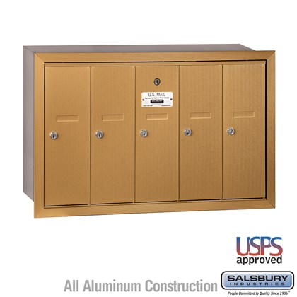 Vertical Mailbox - 5 Doors - Brass - Recessed Mounted - USPS Access