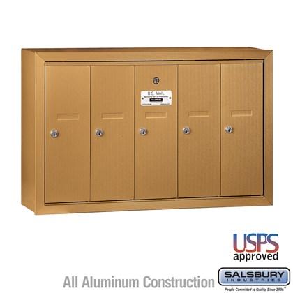 Vertical Mailbox - 5 Doors - Brass - Surface Mounted - USPS Access