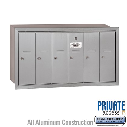 Vertical Mailbox (Includes Master Commercial Lock) - 6 Doors - Recessed Mounted - Private Access