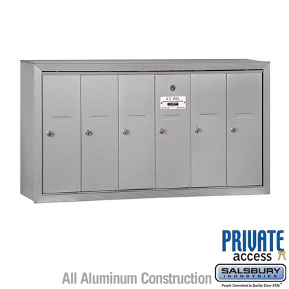 Vertical Mailbox (Includes Master Commercial Lock) - 6 Doors - Surface Mounted - Private Access