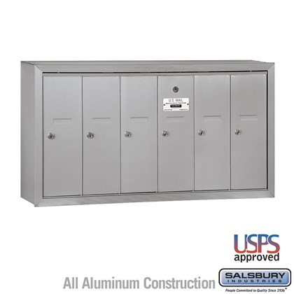 Vertical Mailbox - 6 Doors - Surface Mounted - USPS Access