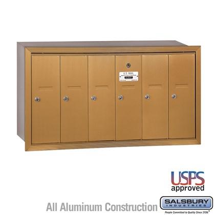Vertical Mailbox - 6 Doors - Brass - Recessed Mounted - USPS Access
