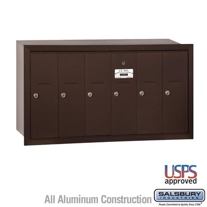 Vertical Mailbox - 6 Doors - Bronze - Recessed Mounted - USPS Access