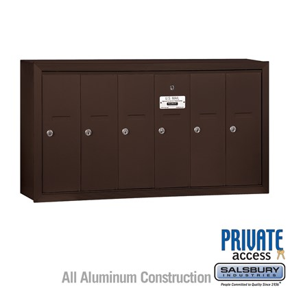 Vertical Mailbox (Includes Master Commercial Lock) - 6 Doors - Bronze - Surface Mounted - Private Access
