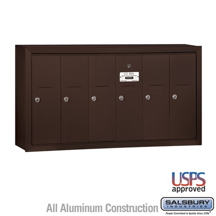 Vertical Mailbox - 6 Doors - Bronze - Surface Mounted - USPS Access