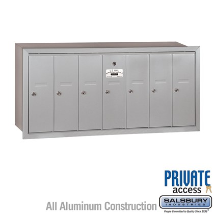 Vertical Mailbox (Includes Master Commercial Lock) - 7 Doors - Recessed Mounted - Private Access