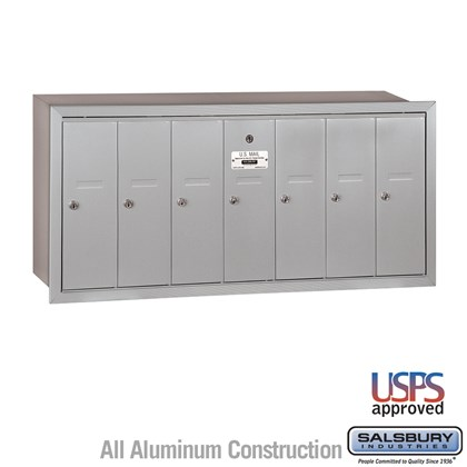 Vertical Mailbox - 7 Doors - Recessed Mounted - USPS Access