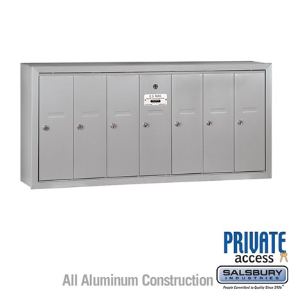 Vertical Mailbox (Includes Master Commercial Lock) - 7 Doors - Surface Mounted - Private Access
