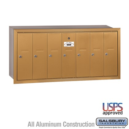Vertical Mailbox - 7 Doors - Brass - Recessed Mounted - USPS Access