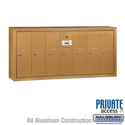 Vertical Mailbox (Includes Master Commercial Lock) - 7 Doors - Brass - Surface Mounted - Private Access