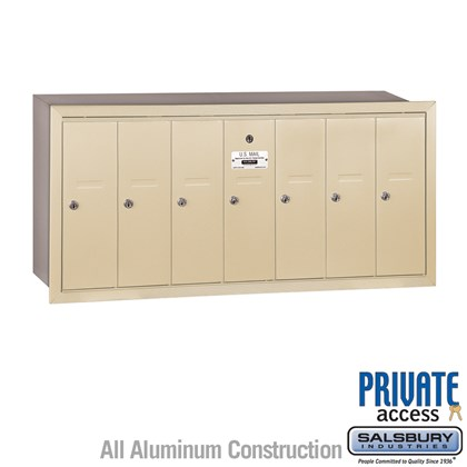 Vertical Mailbox (Includes Master Commercial Lock) - 7 Doors - Sandstone - Recessed Mounted - Private Access