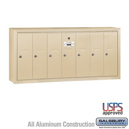 Vertical Mailbox - 7 Doors - Sandstone - Surface Mounted - USPS Access